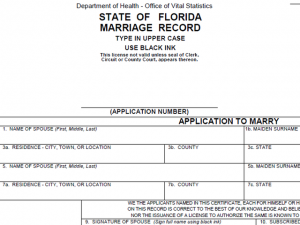 Florida marriage license sample